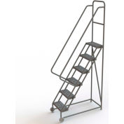 "6 Step Steel 16""W Tilt & Roll Ladder, Perforated Tread - KDTF106166"