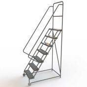 "7 Step Steel 24""W Tilt & Roll Ladder, Perforated Tread - KDTF107246"