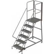 6 Step Forward Descent 50 Deg. Incline Steel Rolling Ladder Rear Exit Gate, Serr. - RWEC106242-XR