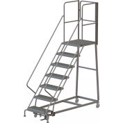 7 Step Forward Descent 50 Deg. Incline Steel Rolling Ladder Rear Exit Gate, Serr. - RWEC107242-XR