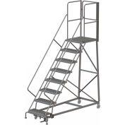 8 Step Forward Descent 50 Deg. Incline Steel Rolling Ladder Rear Exit Gate, Serr. - RWEC108242-XR