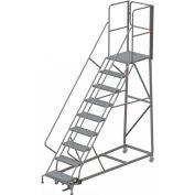 9 Step Forward Descent 50 Deg. Incline Steel Rolling Ladder Rear Exit Gate, Perf. - RWEC109246-XR