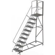 10 Step Forward Descent 50 Deg. Incline Steel Rolling Ladder Rear Exit Gate, Serr. - RWEC110242-XR