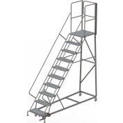 10 Step Forward Descent 50 Deg. Incline Steel Rolling Ladder Rear Exit Gate, Perf. - RWEC110246-XR