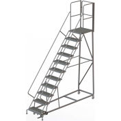11 Step Forward Descent 50 Deg. Incline Steel Rolling Ladder Rear Exit Gate, Serr. - RWEC111242-XR