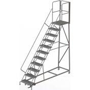 11 Step Forward Descent 50 Deg. Incline Steel Rolling Ladder Rear Exit Gate, Serr. - RWEC111242-XR