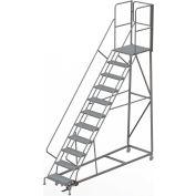 11 Step Forward Descent 50 Deg. Incline Steel Rolling Ladder Rear Exit Gate, Perf. - RWEC111246-XR