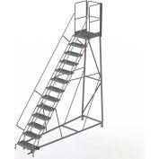 13 Step Forward Descent 50 Deg. Incline Steel Rolling Ladder Rear Exit Gate, Serr. - RWEC113242-XR
