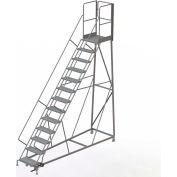 13 Step Forward Descent 50 Deg. Incline Steel Rolling Ladder Rear Exit Gate, Perf. - RWEC113246-XR