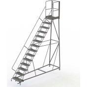 14 Step Forward Descent 50 Deg. Incline Steel Rolling Ladder Rear Exit Gate, Serr. - RWEC114242-XR