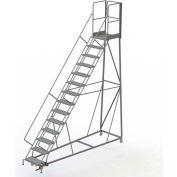 14 Step Forward Descent 50 Deg. Incline Steel Rolling Ladder Rear Exit Gate, Perf. - RWEC114246-XR
