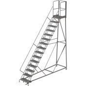 15 Step Forward Descent 50 Deg. Incline Steel Rolling Ladder Rear Exit Gate, Serr. - RWEC115242-XR