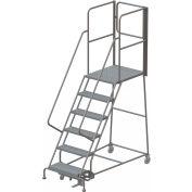 "6 Step Steel Rolling Ladder W/Rear Exit Walk Off Gate, 24""W X 30""D Plat. Perforated - RWSR106246-XR"