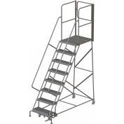 "8 Step Steel Rolling Ladder W/Rear Exit Walk Off Gate, 24""W X 30""D Plat. Serrated - RWSR108242-XR"