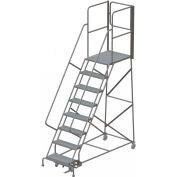 "8 Step Steel Rolling Ladder W/Rear Exit Walk Off Gate, 24""W X 30""D Plat. Perforated - RWSR108246-XR"