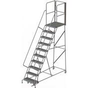 "10 Step Steel Rolling Ladder W/Rear Exit Walk Off Gate, 24""W X 30""D Plat. Serrated - RWSR110242-XR"
