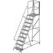 "10 Step Steel Rolling Ladder W/Rear Exit Walk Off Gate, 24""W X 30""D Plat. Perforated - RWSR110246-XR"