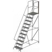 "11 Step Steel Rolling Ladder W/Rear Exit Walk Off Gate, 24""W X 30""D Plat. Serrated - RWSR111242-XR"