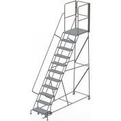 "11 Step Steel Rolling Ladder W/Rear Exit Walk Off Gate, 24""W X 30""D Plat. Perforated - RWSR111246-XR"