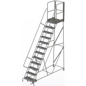 "12 Step Steel Rolling Ladder W/Rear Exit Walk Off Gate, 24""W X 30""D Plat. Serrated - RWSR112242-XR"