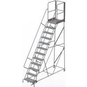 "12 Step Steel Rolling Ladder W/Rear Exit Walk Off Gate, 24""W X 30""D Plat. Perforated - RWSR112246-XR"