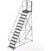 "13 Step Steel Rolling Ladder W/Rear Exit Walk Off Gate, 24""W X 30""D Plat. Serrated - RWSR113242-XR"