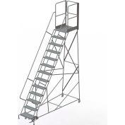 "13 Step Steel Rolling Ladder W/Rear Exit Walk Off Gate, 24""W X 30""D Plat. Perforated - RWSR113246-XR"