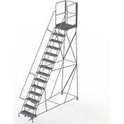"14 Step Steel Rolling Ladder W/Rear Exit Walk Off Gate, 24""W X 30""D Plat. Serrated - RWSR114242-XR"