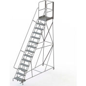 "14 Step Steel Rolling Ladder W/Rear Exit Walk Off Gate, 24""W X 30""D Plat. Perforated - RWSR114246-XR"