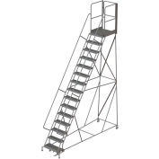"15 Step Steel Rolling Ladder W/Rear Exit Walk Off Gate, 24""W X 30""D Plat. Serrated - RWSR115242-XR"