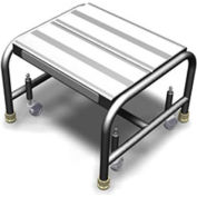 "1 Step Mobile Aluminum Step Stand w/ Solid Ribbed Top Step & 16""W Platform"