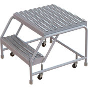 "2 Step Aluminum Rolling Ladder, 24""W Grip Tread, 21""D Top Step, W/O Handrails - WLAR002245-D4"