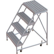 "4 Step Aluminum Rolling Ladder, 16""W Grip Strut, 14""D Top Step, No Handrails - WLAR004165"