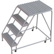 "4 Step Aluminum Rolling Ladder, 24""W Grip Tread, 28""D Top Step, W/O Handrails"