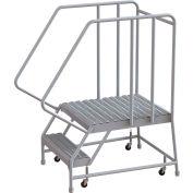 "2 Step Aluminum Rolling Ladder, 24""W Grip Tread, 28""D Top Step, 32"" Handrails - WLAR102245-D5"
