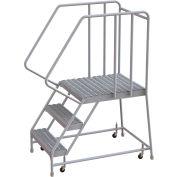 "3 Step Aluminum Rolling Ladder, 16""W Grip Tread, 28""D Top Step, 32"" Handrails"