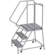 "3 Step Aluminum Rolling Ladder, 24""W Ribbed Tread, 21""D Top Step, 32"" Handrails"