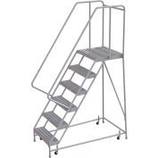 "6 Step Aluminum Rolling Ladder, 24""W Ribbed Tread, 21""D Top Step, 32"" Handrails"
