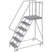 "6 Step Aluminum Rolling Ladder, 24""W Grip Tread, 28""D Top Step, 32"" Handrails - WLAR106245-D5"