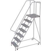 "7 Step Aluminum Rolling Ladder, 24""W Ribbed Tread, 21""D Top Step, 32"" Handrails"