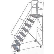 "8 Step Aluminum Rolling Ladder, 24""W Ribbed Tread, 21""D Top Step, 32"" Handrails"