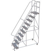 "10 Step Aluminum Rolling Ladder, 24""W Ribbed Tread, 14""D Top Step, 32"" Handrails - WLAR110244"