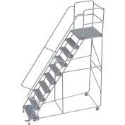 "10 Step Aluminum Rolling Ladder, 24""W Grip Tread, 28""D Top Step, 32"" Handrails"