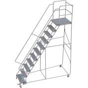 "11 Step Aluminum Rolling Ladder, 24""W Grip Tread, 28""D Top Step, 32"" Handrails"