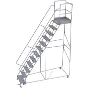 "12 Step Aluminum Rolling Ladder, 24""W Ribbed Tread, 28""D Top Step, 32"" Handrails"
