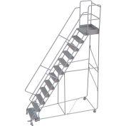 "12 Step Aluminum Rolling Ladder, 24""W Grip Tread, 21""D Top Step, 32"" Handrails"