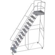"12 Step Aluminum Rolling Ladder, 24""W Grip Tread, 28""D Top Step, 32"" Handrails"