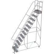 "12 Step Aluminum Rolling Ladder, 24""W Grip Strut, 14""D Top Step, 36"" Handrails - WLAR112245"