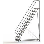 "12 Step Aluminum Rolling Ladder, 24""W Grip Strut Tread, 14""D Top Step, 42"" Handrails - WLAR112245C"