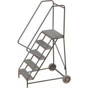 "5 Step Aluminum Wheel-Barrow Style Rolling Ladder 16""W X 14""D Plat. Grip Strut Tread - WLARTR105165"
